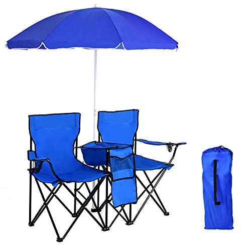 CASART Double Camping Chair, Folding Picnic Chairs with Umbrella and...