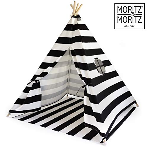 Moritz & Moritz Tipi Zelt für Kinder - Schwarz Gestreift - Kinderzelt Spielzelt Geschenkidee - Mit Bodendecke und Fenster - Für Haus und Garten