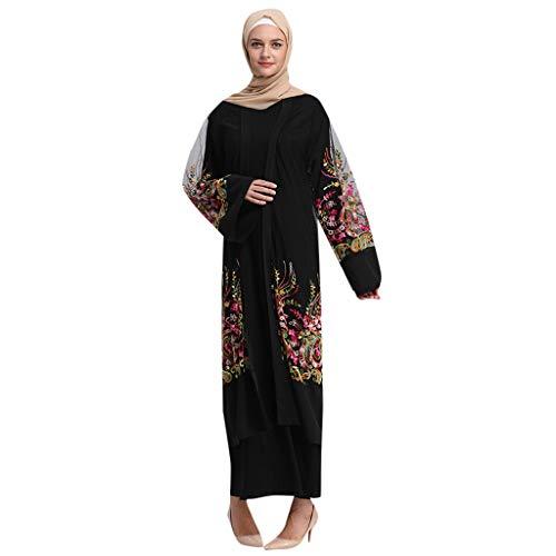 Kleid Damen Muslimische Frauen Islamische Sommer Langarm Langes Maxikleid Gestickte Mesh-Jacke Mesh Robe Fringe Belt Islamische Marokkanische KleidungKleid Arabische Open Strickjacke(Schwarz,XL)