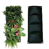 Yardwe Vertical - Jardinera de jardín de pared, 4 bolsillos, jardinera y bolsas para suculentas y hierbas, vertical bolsas para plantas de tela para jardín decoración (negro)