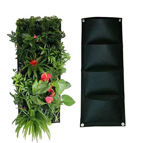Yardwe Verticale Fioriera da Giardino a Parete 4 Tasca Fioriera e Borse per succulente ed Erba, Verticale Sacchi per Piante di Tessuto per Giardino Decorazione (Nera)