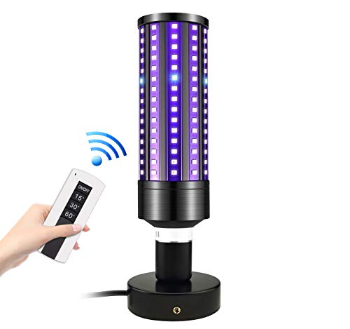 ANCROWN UV Light Sanitizer Lamp, 60W Professional UV Sterilizer Light, E26/E27 UV Bulb with Base, 240-280nm UVC Disinfection, Remote Control Ozone Free for Room Home Office, 99.99% Sterilization Rate