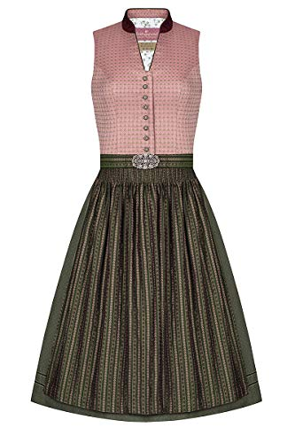 Lieblingsgwand Midi Dirndl 65 oudroze olijf Amalia 006236 - gelimiteerd, hooggesloten, van glinsterende weefsel, zacht gestippelde rok, oudzilveren knoppen met bloemenmotief, schort sluiting