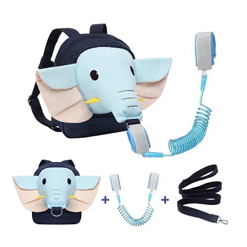 Mochila con arnés de elefante con correa + pulsera anti perdida para niños de 1 a 5 años