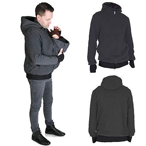 amropi Känguru Hoodie Babytrage Männer Pullover Winter Warme Babytrage Mantel mit Baby Tasche Grau,XXL