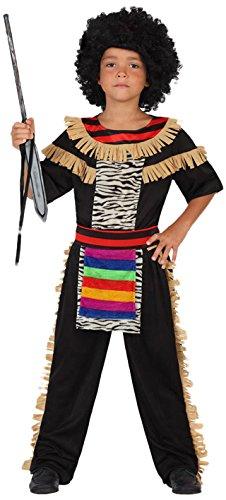 Atosa-guerrero Disfraz Zulú, color (schwarz/bunt), 3 a 4 años (23216)