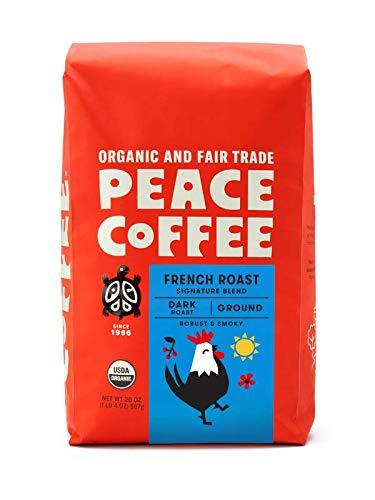 Peace Coffee French Roast, Dark Roast, (Peru Origin), Organic Fair Trade Coffee, Ground 20 oz. Bag