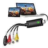 Goteck Capturadora de Video USB 2.0, Convertidor de Captura de vídeo USB, VHS a DVD Digital Grabber Grabador para Mac Windows 7 8 10, Capturadora Video USB