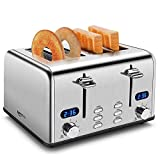 4 Slice Toaster, Keenstone Retro Bagel Toasters with Timer, Wide Slot, Crumb Tray, Brushed Stainless...
