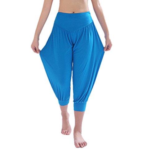 YoYoiei Womens Solid Color Soft Elastic Spandex Knickers Yoga Pants Harem Pants Blue M