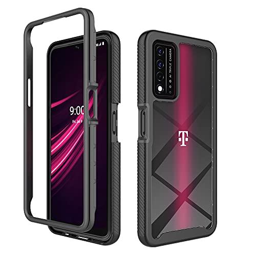 Dzxouui for T-Mobile Revvl V+ 5G Case,Revvl V+ 5G Case,2 in 1 Heavy Duty Shockproof Bumper Hybrid Back Clear TPU Cover Phone Cases for T-Mobile Revvl V Plus 5G(XK-Black)
