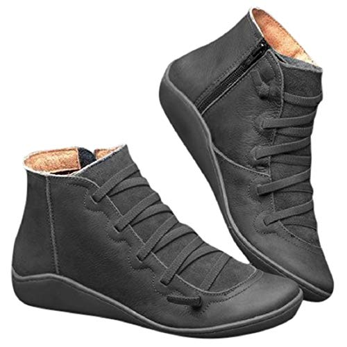 Womens Comfy Booties Morecome Lace Up Zipper Round Toe Ankle Boots Flat Shoes Black