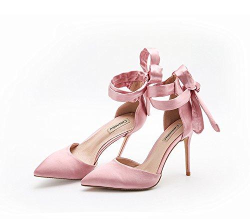 10cm Scarpe da sposa con tacco alto in raso di seta rosa estate, sandali selvatici senza intestazione, multa nuda femminile con tacchi a spillo ( Colore : Rosa , dimensioni : 36 )