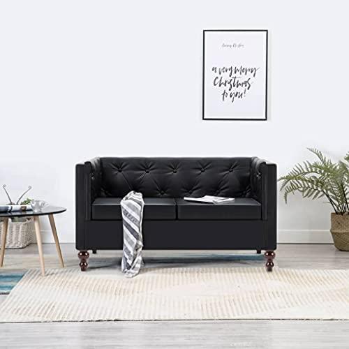 YOPOTIKA Chesterfield Sofa Couch Kunstleder Wohnmöbel Polstergarnitur Chesterfield-Sofa 2-Sitzer Kunstlederbezug Schwarz