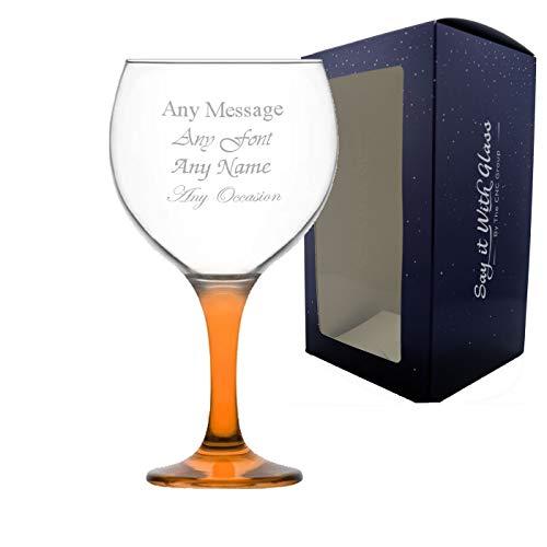 Copas de ginebra personalizadas con diseño de globo inglés LAV Misket - 645 ml - Naranja - cualquier mensaje grabado