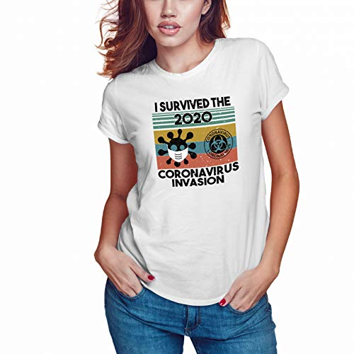 WGC I Survived The 2020 Coronavirus Invasion Maglietta Bianca da Donna di Alta qualità Size XL