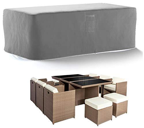HBCOLLECTION® Housse Haute résistance 500D pour Table Salon de Jardin Gris (230x130 H72cm)
