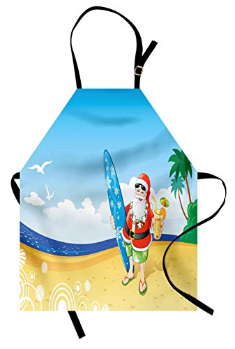 Ambesonne Christmas Apron, Santa Claus on The Beach with Surfboard Summer Party Celebration Tropical Art, Unisex Kitchen Bib with Adjustable Neck for Cooking Gardening, Adult Size, Blue Yellow