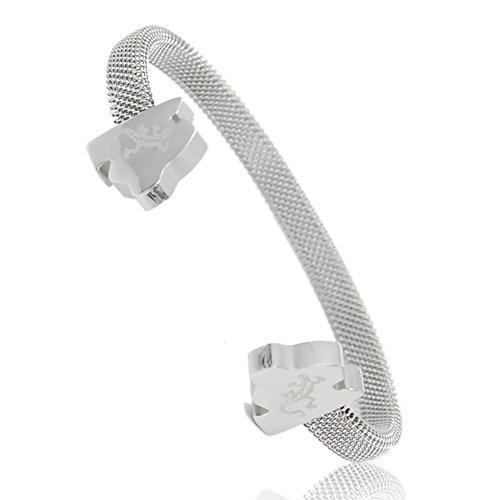 Mallorca Design Bangle - Energetix 4you Energie Magnet Armreif - Das INSEL Geschenk - Edelstahl Salamander Logo M-L + Schmuckverpackung