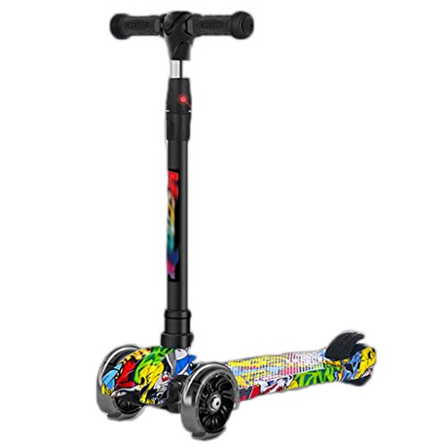 Scooter Moda Doodle Scooter Altura Ajustable Lean para dirigirla Flashing PU Wheels 3 Rueda Kick Lean-to-Steer Scooters, para niños Boys Girls Patinetes (Color : Multi-Colored)