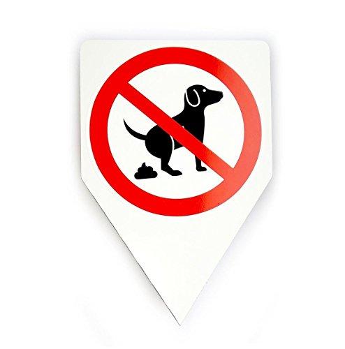 Steckschild Hunde koten verboten I hin_036 I Größe 20 x 30 cm I keine Hundetoilette I zum Stecken für Rasen Wiese Erde