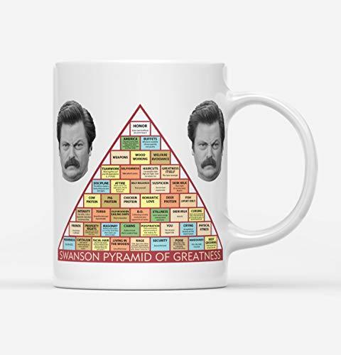 DKISEE Taza de té con diseño de pirámide de la grandeza de Ron Swanson, para la oficina, regalos, tazas únicas de té de café, taza de regalo