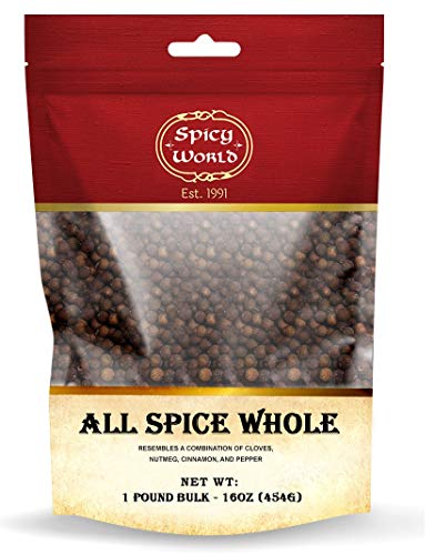 Whole Allspice Berries - 1 Pound Bag Bulk in Resealable Bag | by Spicy World (All Spice)
