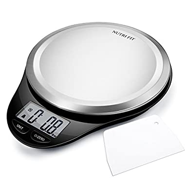 Digital Kitchen Scale with Dough Scraper,NUTRI FIT High Accuracy Multifunction Food Scale with Fingerprint Resistant Coating,Tare & Auto Off Function Black