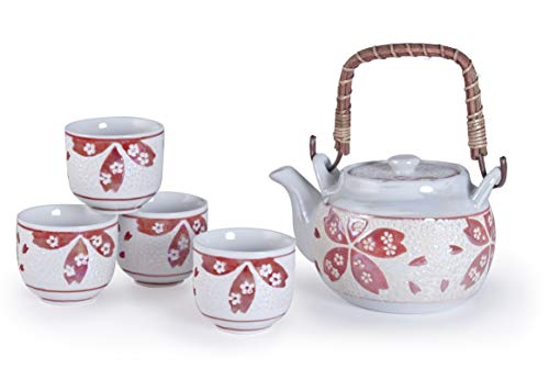 Hinomaru Collection Teeservice aus japanischer Perlenglanz, glasiert, Sakura Kirschblüte, Teeservice aus Keramik, 625 ml Dobin Teekanne mit Rattan-Griff und 4 Teetassen