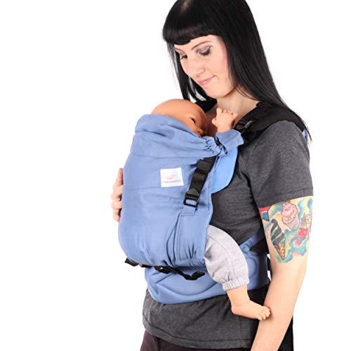 SCHMUSEWOLKE Comfort Maxi Babytrage Kleinkinder Riverside BIO-Baumwolle Toddlersize 10-24 Monate 6-16 kg Bauch-und Rückentrage