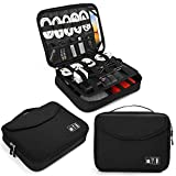 Electronics Bag, Jelly Comb Electronic Accessories Travel Cable Organizer Waterproof Cord Storage Bag for Cables, iPad (Up to 11''),Power Bank, USB Flash Drive and More-(All Black)