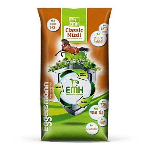 Eggersmann EMH Classic Muesli - Muesli sans Avoine pour Chevaux de Sport afin de protéger Le système Musculaire - 20 kg