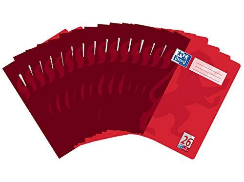 Oxford Schule Schulheft A4, Lineatur 26, kariert mit Rand, 16 Blatt, rot, 15er Pack