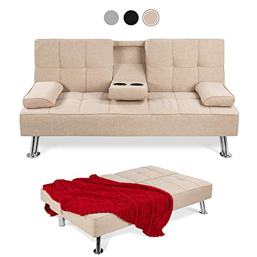 Best Choice Products Modern Linen Convertible Futon Sofa Bed w/Removable Armrests, Metal Legs, 2 Cupholders - Beige