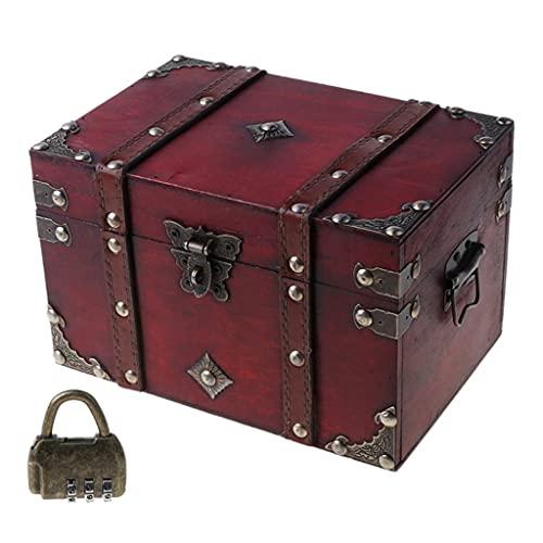 JYDQM Cofre del Tesoro Retro con Cerradura Caja de Almacenamiento de Madera Vintage Joyería de Estilo Antiguo (Size : 8.66 x 5.91 x 5.31inch)