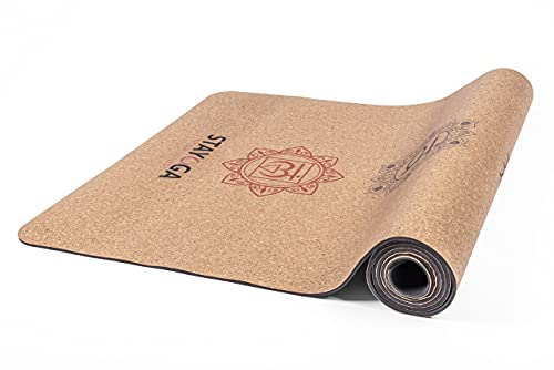 STAYOGA Esterilla de Yoga Cork TPE de 183x61x0,4cm. Modelo Chakras. Impermeable y Antideslizante. Multiusos, se Puede Utilizar para Yoga, Pilates etc.