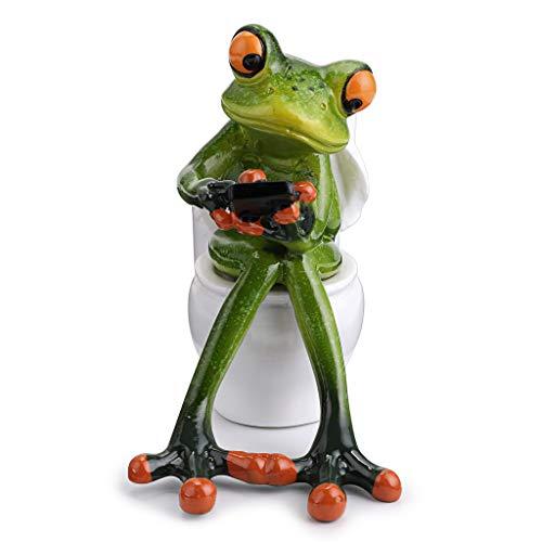 BTSKY Creative Resin Animal Pen Pencil Holder Organizer Green Frog Statue Texting on Toilet Funny Cute Decoration for Home Desk Bathroom