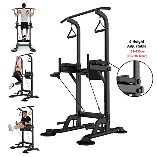 Adjustable Power Tower Dip Station, Multi-Function Dip Station Chin Up Bar Core Power Tower Workout Equipment Stand Pulls Push Bar Stand Ab Workout Station Body Training