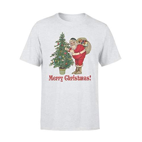 Leet Group Santa Claus Decoración Árbol de Navidad Vintage Ilustración – Camiseta estándar