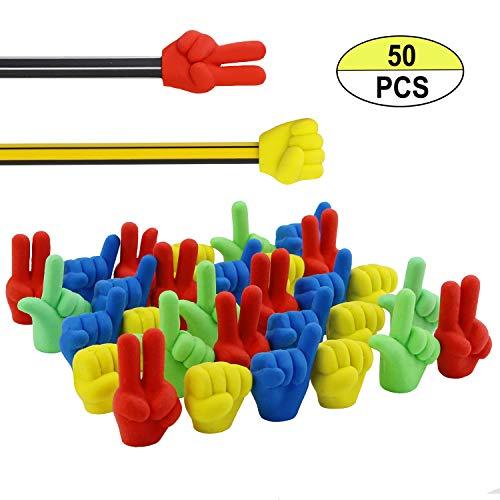 BcPowr 50PCS Hand Shape Pencil Eraser Caps, Pencil Erasers For Party Favors Games Prizes Pen Cap Toppers Pencil Top Erasers Cap Erasers Eraser Tops Pencil Eraser Toppers School Erasers Eraser Pencil E