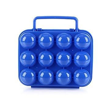 CFtrum Portable Porte-Oeufs/Boîte à Oeufs en Plastique pour Camping et Pique-Nique (12 Grilles, Couleur Bleu)