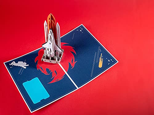 Spaceship Birthday Pop Up Card-Nasa Birthday Pop Up Card, Rocket Popup Greeting Cards, Premium Gift for Family, Friends, Loved Ones on Birthday or Any Occasion(Blue)