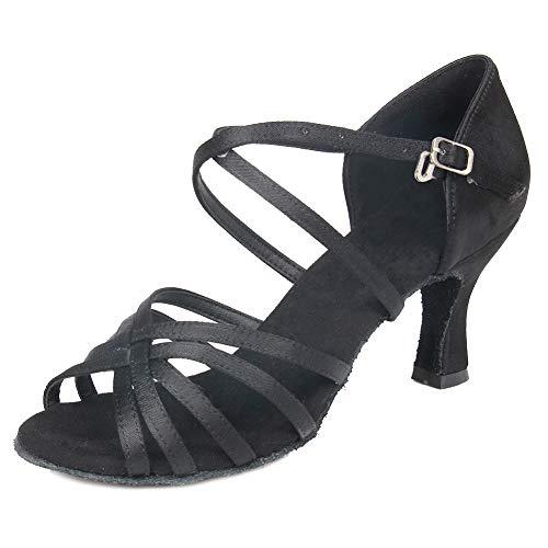 HIPPOSEUS Mujeres Zapatos de Baile Latino Práctica de satén Salón de Baile Zapatos de Baile de Rendimiento con Correas Cruzadas Punta Abierta,FWZJ-CL-BDJ-7,Negro Color,EU 37.5