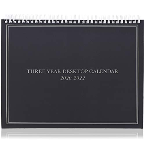 3-Year Desktop Calendar - 2020-2022 (11.2 x 9 in, Black)
