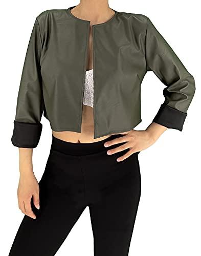 JOPHY & CO. Chaqueta, corta para mujer, ligera, de manga larga, sin cuello, de piel sintética (cód. 6352) verde militar L corto