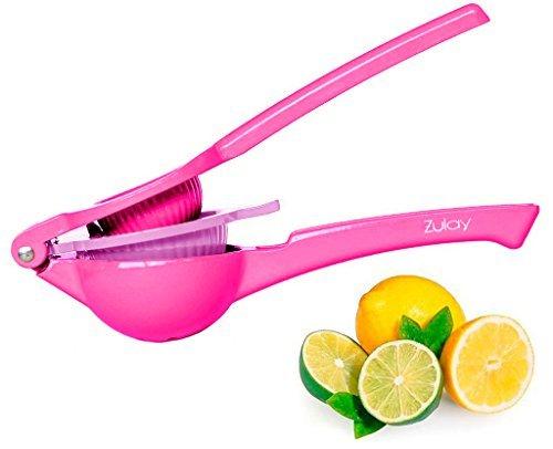 Zulay Premium Quality Metal Lemon Lime Squeezer - Manual Citrus Press Juicer (Pink Fusion)