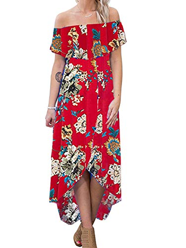 Off Shoulder Bodycon Floral Maxi Dress Off The Shoulder High Low Strapless Hawaiian Beach Cold Shoulder Dress Summer Casual Red M