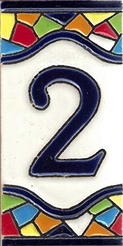 TORO DEL ORO Números casa. Numeros y Letras en azulejo. Ceramica esmaltada, Pintados a Mano técnica Cuerda Seca. Nombres y direcciones. Diseño Mosaico Mediana 5,5x10,5 cm (Número dos'2')