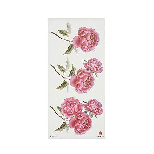 Handaxian 3pcs3D Realista Rosa Tatuaje Impermeable Tatuaje Femenino Brazo Hombro Flor Pegatina 3pcs-14