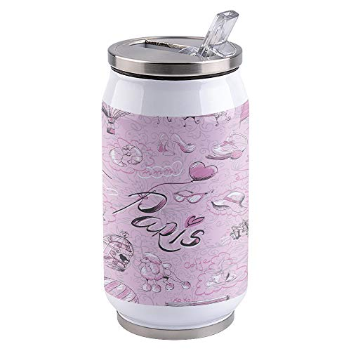Water Bottle | Vacuum Insulated Stainless Steel Water Bottle 10oz | Eiffel Tower Paris Chair Birdcage Street Pink | Double Walled Water Bottles | Wide Mouth with Straw Lid | Leak Proof Flip-Top